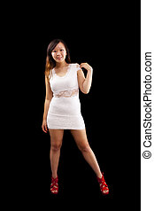 Young Asian American Woman Standing White Dress