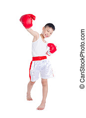 boxer boy isolated over white background