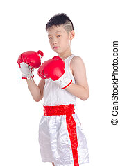 boxer boy over white background