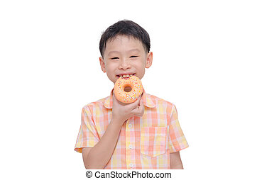 boy eating donut over white