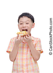 boy eating pizza over white