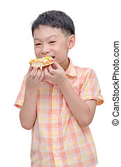 boy eating pizza over white