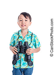 Young asian boy holding binocular over white background