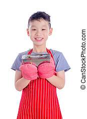 boy holding bread over white background
