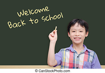 boy holding chalk with text