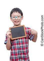boy holding chalkboard over white