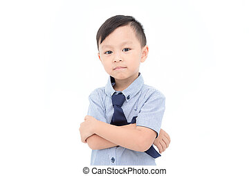 Young asian boy looking at camera over white background