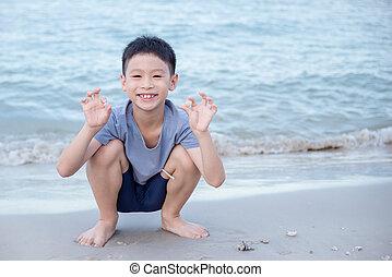 boy picking shells on the beach