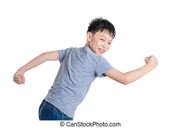 boy running over white background