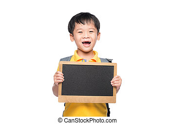 Young asian boy smile holding chalkboard over white