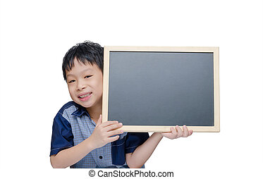 boy smile with chalkboard over white