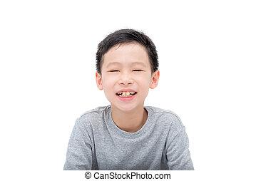 boy smiles over white background