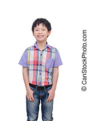boy smiling isolated over white