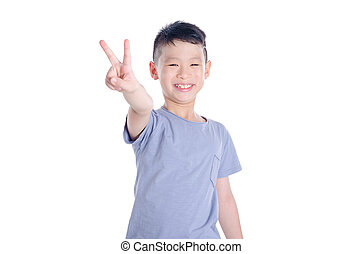 boy smiling over white background