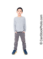Young asian boy standing over white background