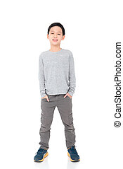 boy standing over white background