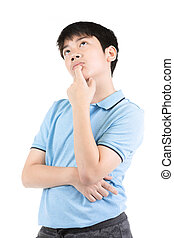 Young Asian boy thinking over white background