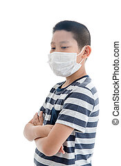 Young Asian boy wearing mask over white background