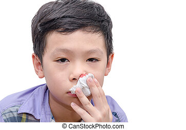 boy wipe blood from his nose by tissue paper - Young Asian...