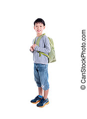 Young asian boy with backpack over white background