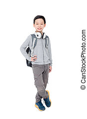 boy with backpack over white
