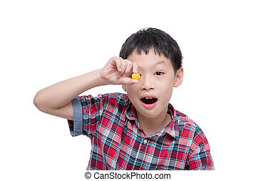 boy with candy isolated over white