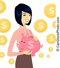 Young asian business woman holding a piggy bank.