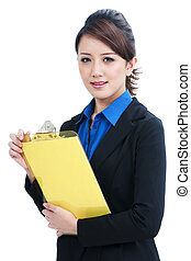 Young Asian Business Woman Holding Clipboard