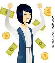 Young asian business woman under money rain.