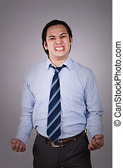 Young Asian Businessman Angry Expression