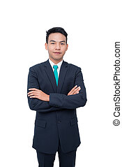 Young asian businessman over white background