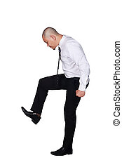 Young Asian Businessman Stomp Gesture