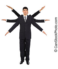 Young asian businessman with six hands