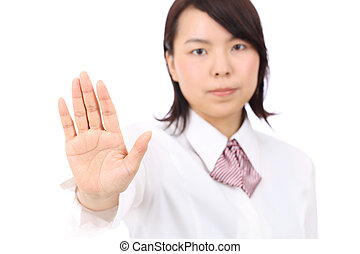 Young asian businesswoman show NO gesture