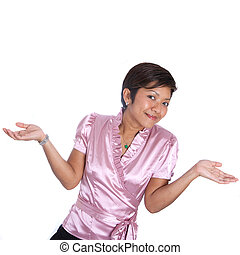 Young Asian businesswoman shrugging shoulder in gesture of doubt.