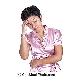 Young Asian businesswoman suffers stress related headache