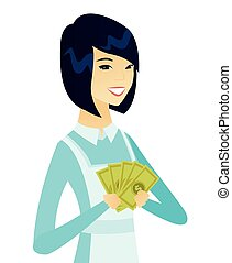Young asian cleaner holding money.