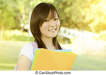Young Asian college girl