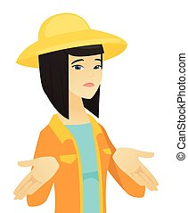 Confused asian farmer in summer hat shrugging her shoulders. Young doubtful farmer gesturing hands and shrugging her shoulders. Vector flat design illustration isolated on white background.
