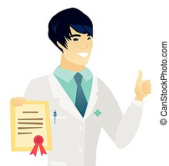 Young asian doctor holding a certificate. Doctor in medical...