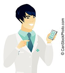 Young asian doctor holding a mobile phone.