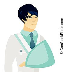 Young asian doctor with broken arm. - An injured asian ...