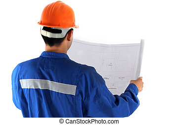 young asian engineer with construction drawing in oil and...