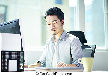 young asian entrepreneur working in office