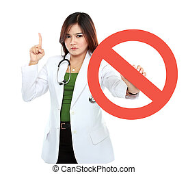 Young asian female doctor holding prohibited sign