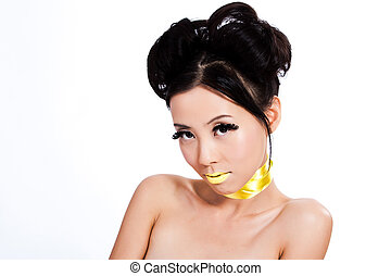 Young asian female with creative makeup
