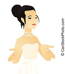 Young asian fiancee shrugging shoulders.