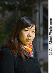 Young Asian Girl At Night