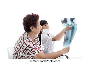 Young Asian girl Doctor with senior patient on white.