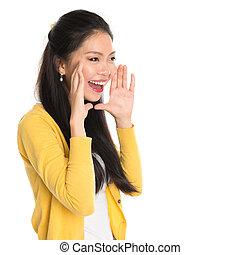 Asian girl shouting